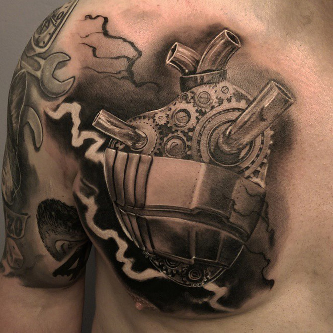 Mechanical Heart Tattoo