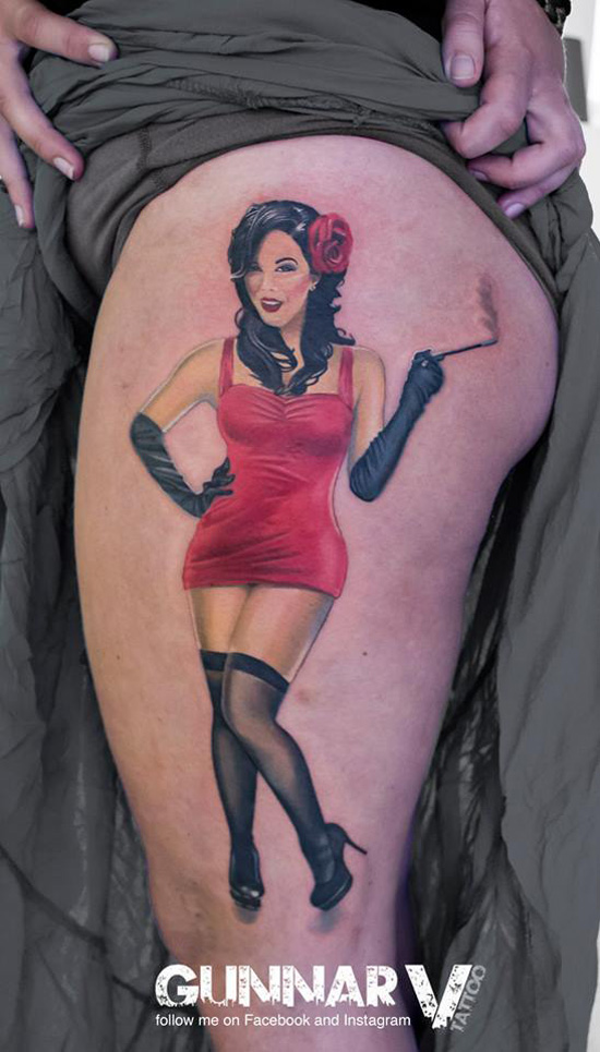 Sexy Pin Up Thigh Tattoo