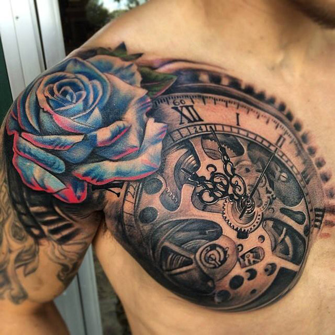 Clock & Blue Rose Chest Tattoo