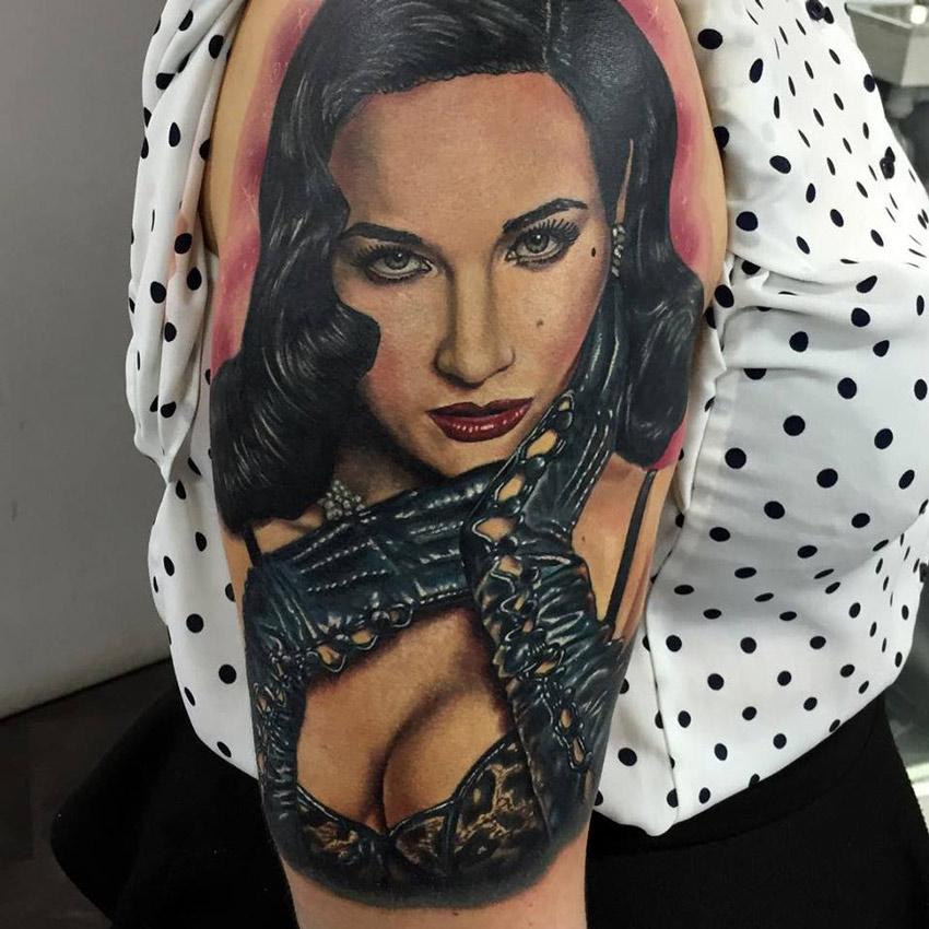 Dita Von Teese Portrait Tattoo