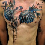 Abstract Bird Chest Tattoo