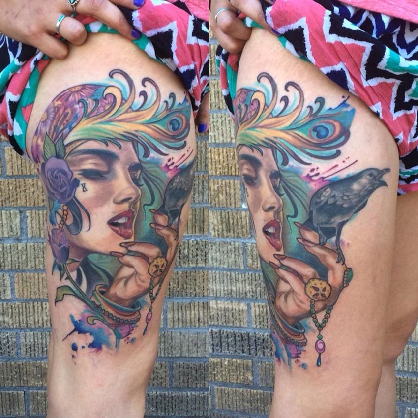 Gypsy Thigh Tattoo
