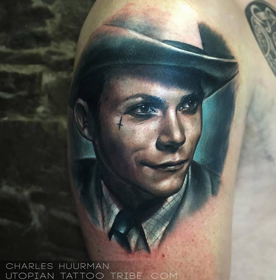 Hank Williams portrait tattoo