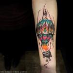 Hot Air Balloon Forearm Tattoo