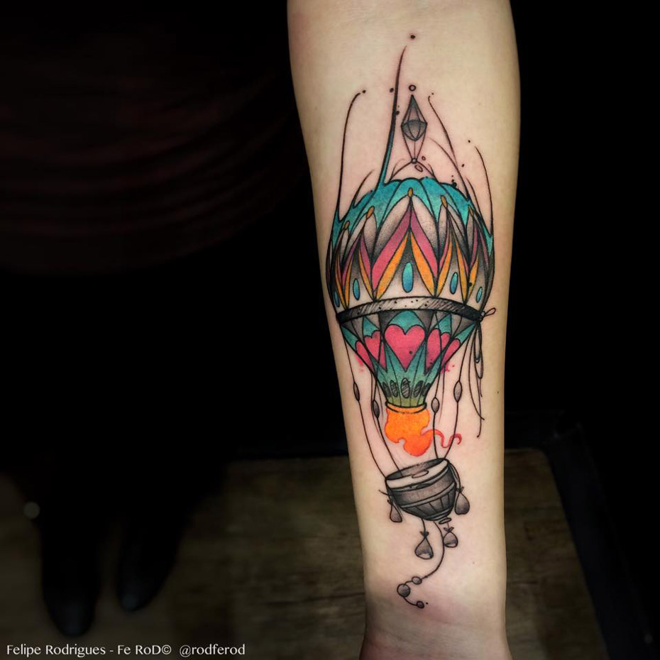 Colorful Hot Air Balloon Forearm Tattoo | Best tattoo ...