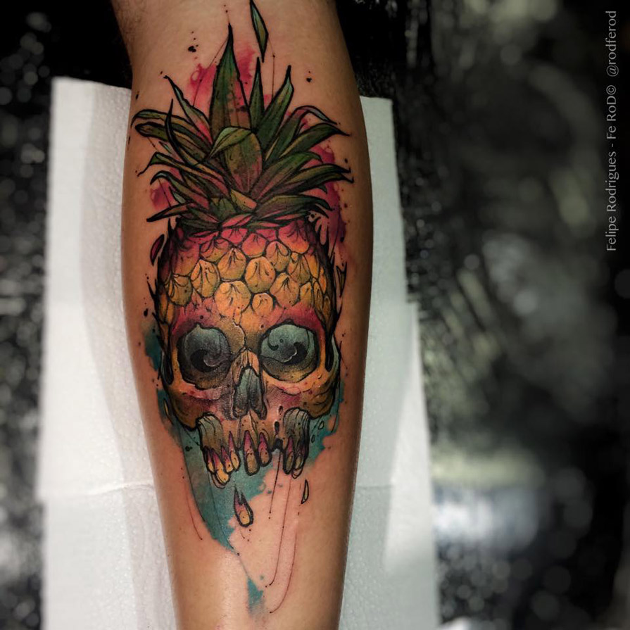 forearm pineapple skull best tattoo design ideas. Black Bedroom Furniture Sets. Home Design Ideas