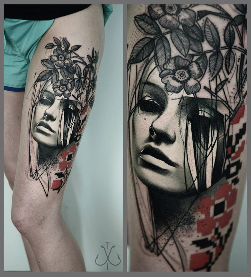 Portrait Thigh Tattoo
