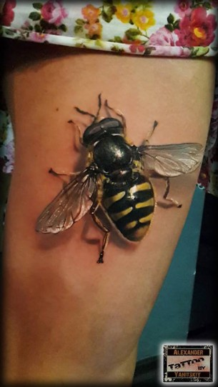 Realistic Bee Tattoo