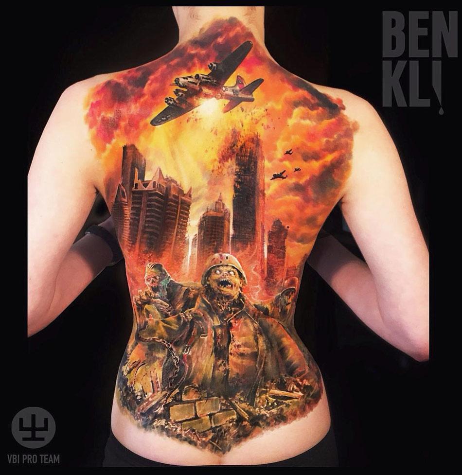 Zombie Apocalypse Full Back Best Tattoo Design Ideas