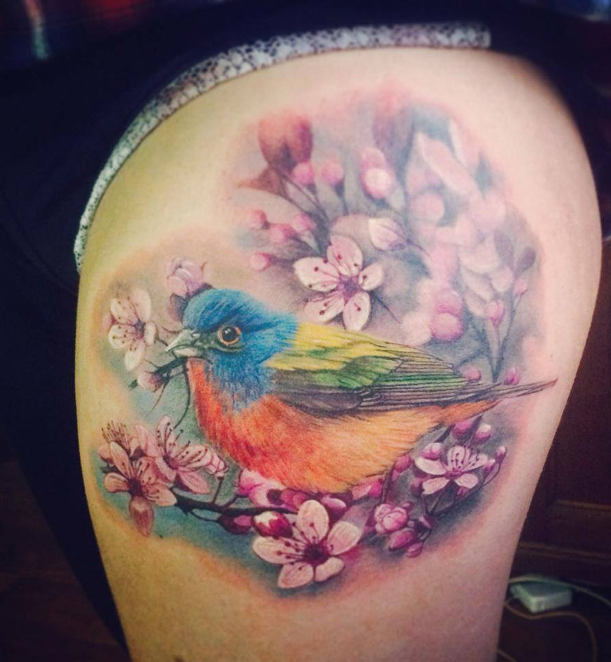 colorful bird cherry blossom best tattoo design ideas