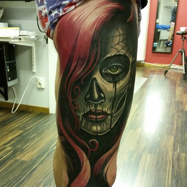 Day of the dead leg best tattoo design ideas for Day of the dead tattoo designs