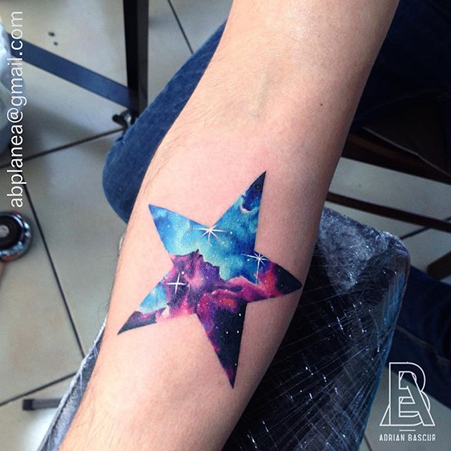 Colorful Star With Galaxy Inside  Best Tattoo Ideas &amp Designs