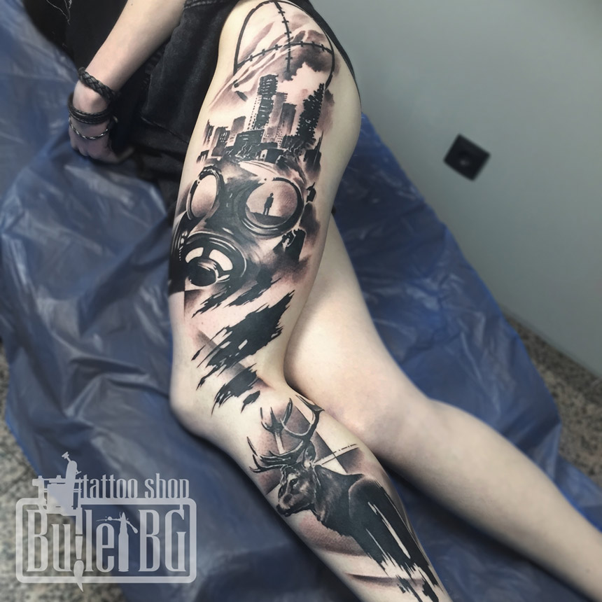 Gas Mask Leg Sleeve Best Tattoo Design Ideas