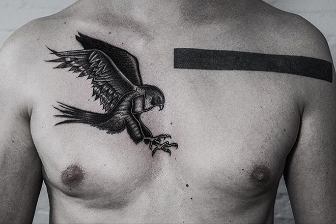 Hawk Chest tattoo