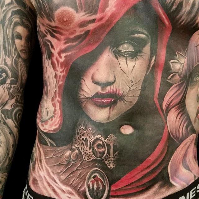 Dark Lady Torso Tattoo