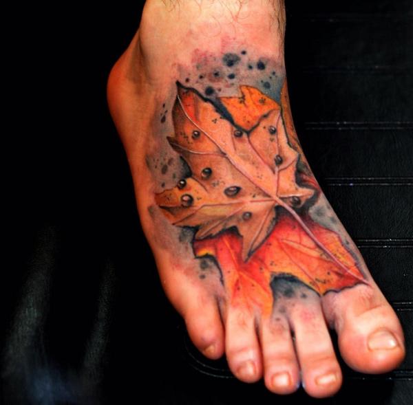 Leaves Foot Tattoo