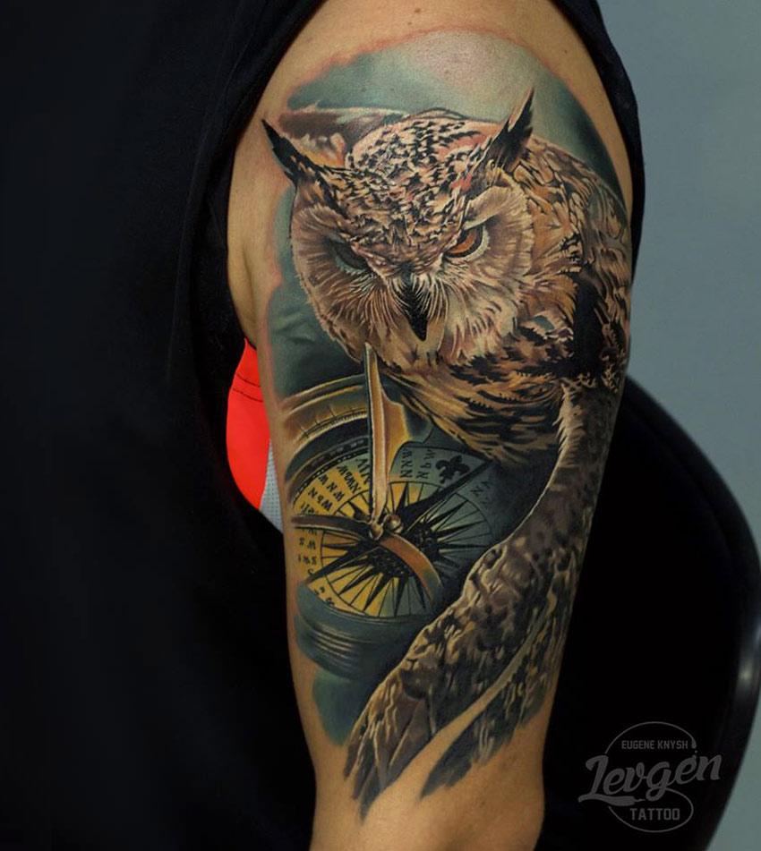 Owl & Compass Tattoo