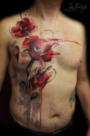 Poppy Chest Tattoo