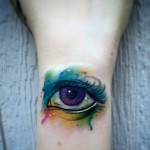 Watercolor eye tattoo