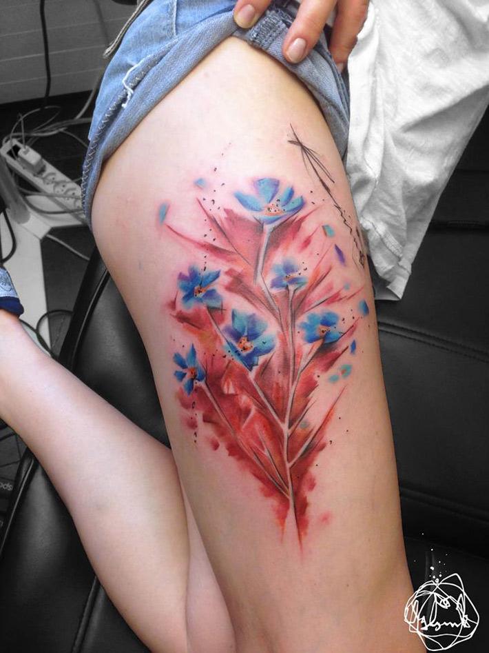Pretty Flowers Thigh Tattoo