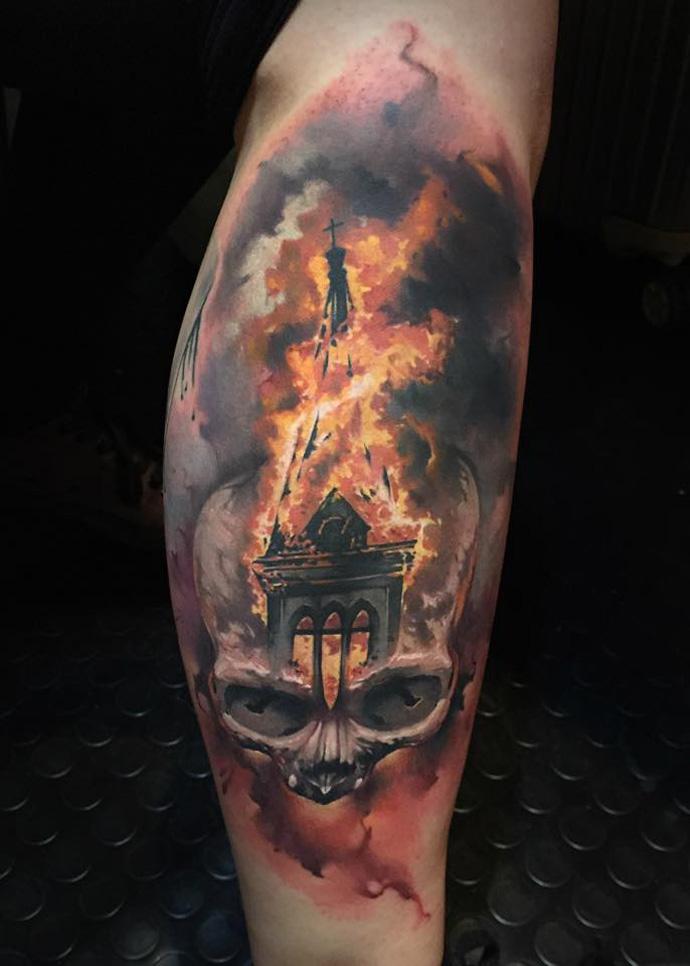 Skull & Burning Church