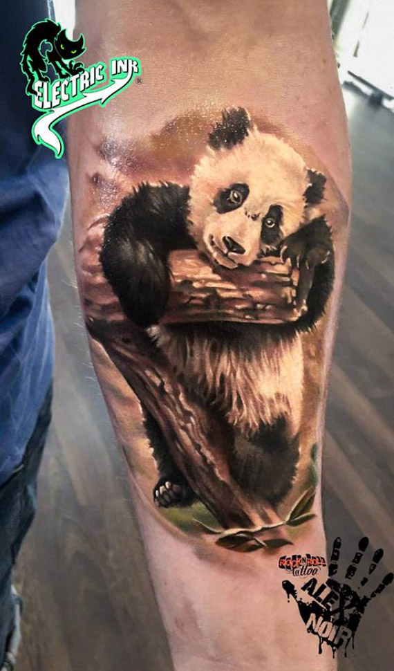 Panda forearm tattoo