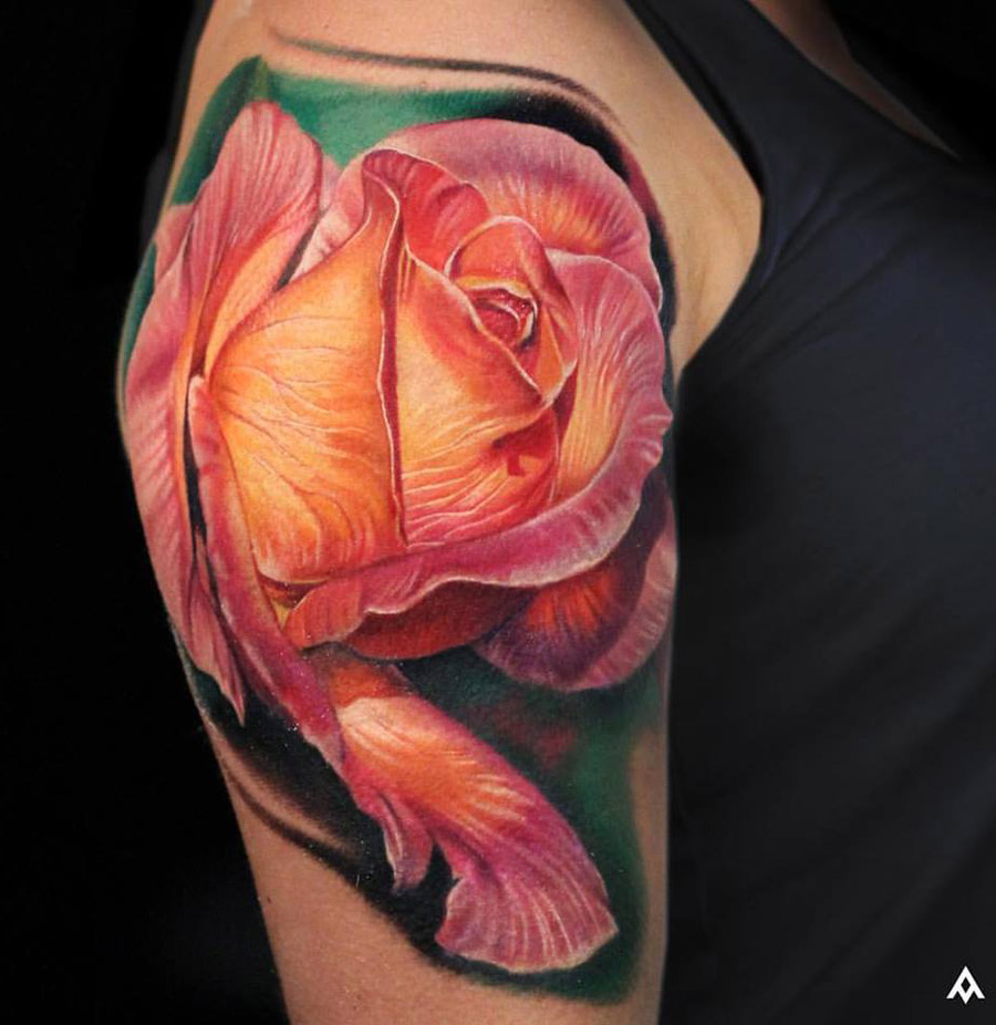 Large Rose Shoulder Piece | Best tattoo design ideas