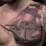 Sailing Ship Chest Tattoo