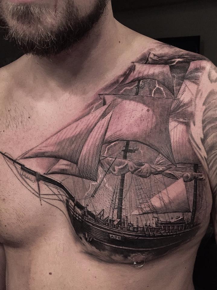 Sailing Ship Chest Tattoo