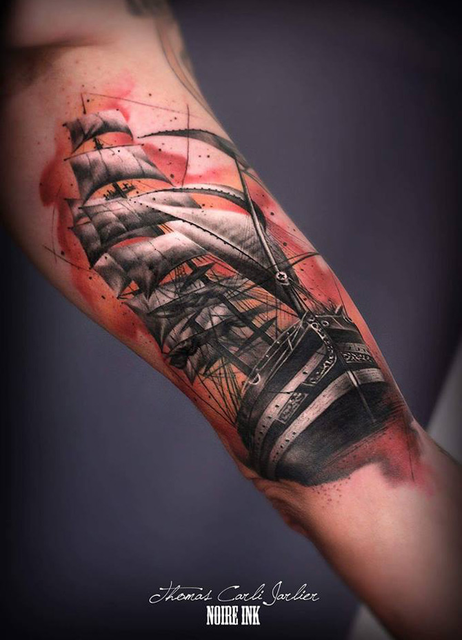 Sailing Ship Bicep Tattoo