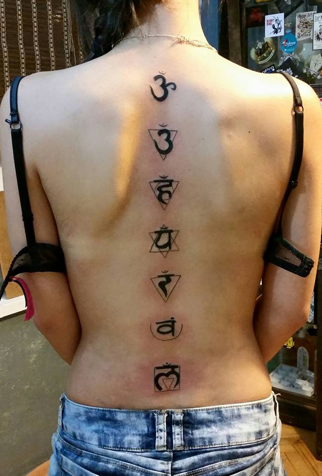 Chakras Back Tattoo