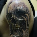 Skull & Compass Engraving