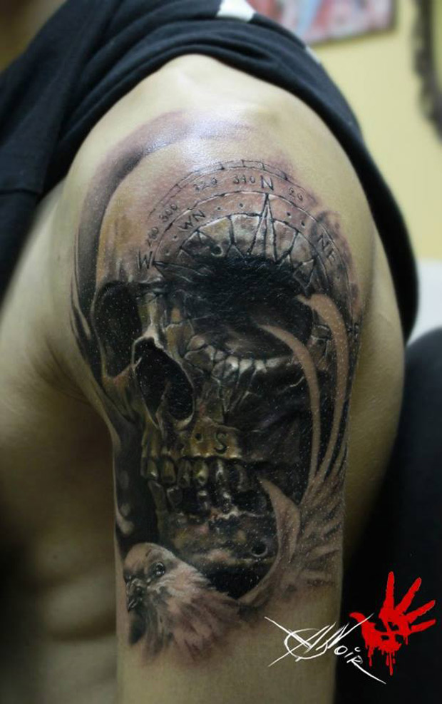 Skull With Compass Engraving
