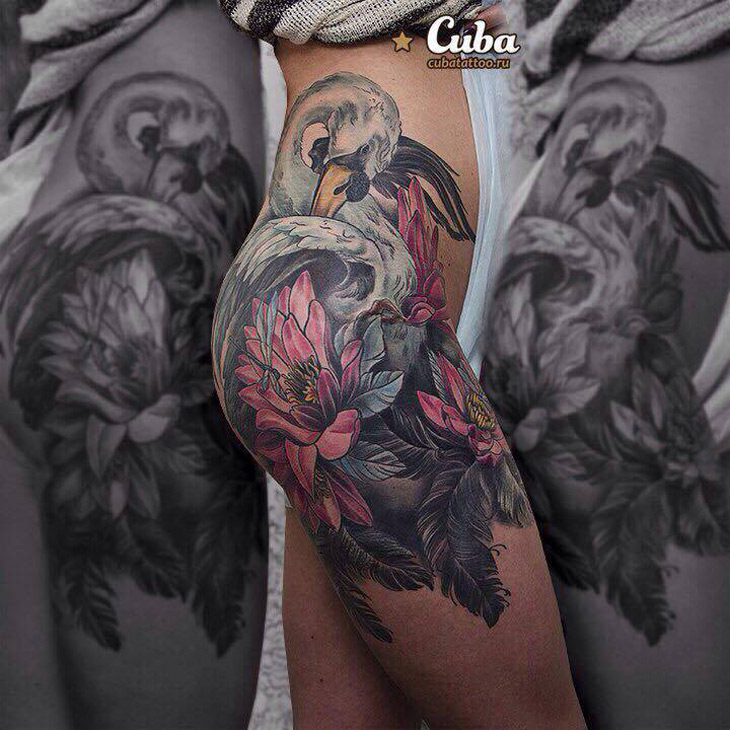 Swan & Flowers Hip Tattoo