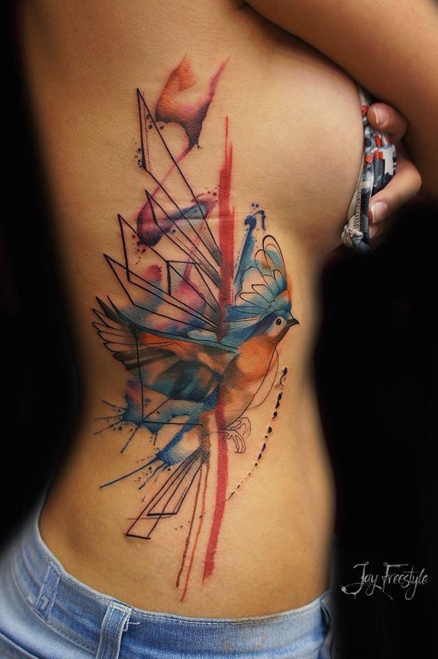 Abstract Bird Side Tattoo