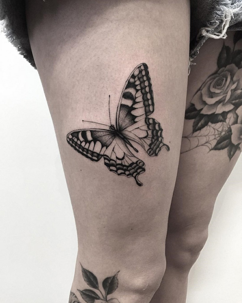 Black Ink Butterfly On Girls Thigh Best Tattoo Design Ideas