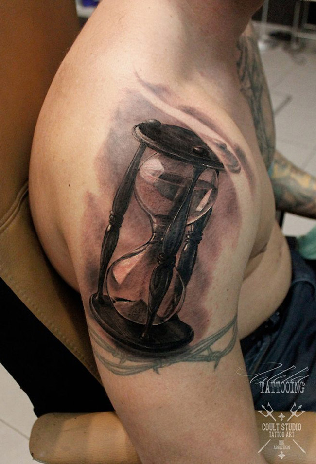 Hourglass Shoulder Tattoo