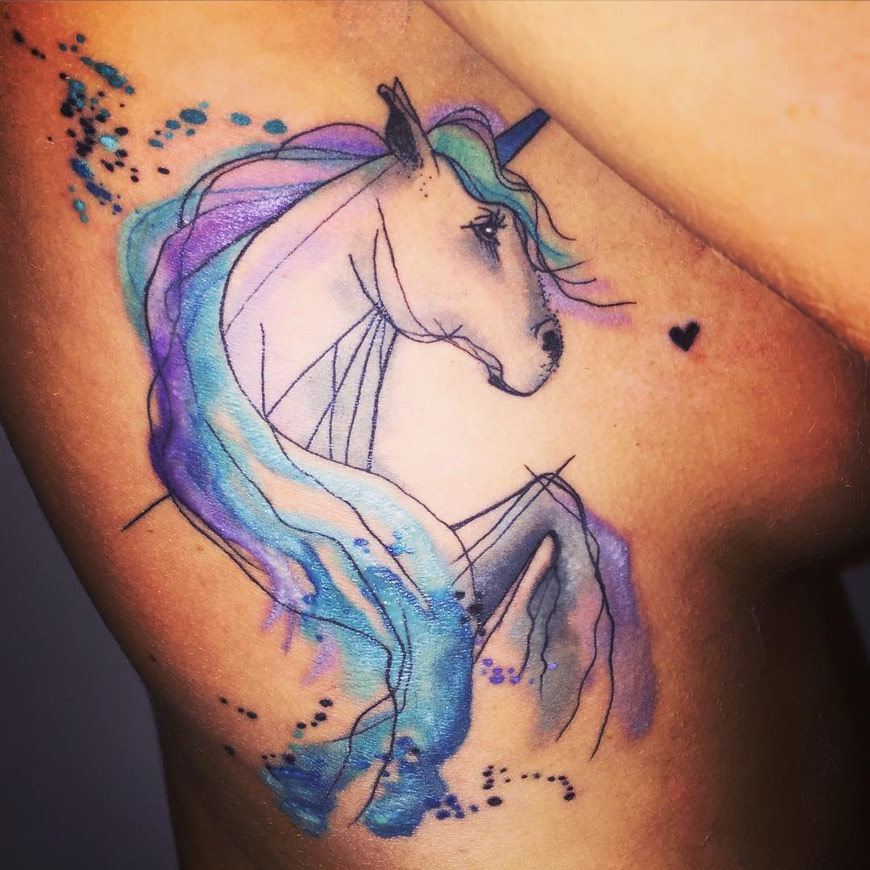 realistic unicorn tattoo - 870×870