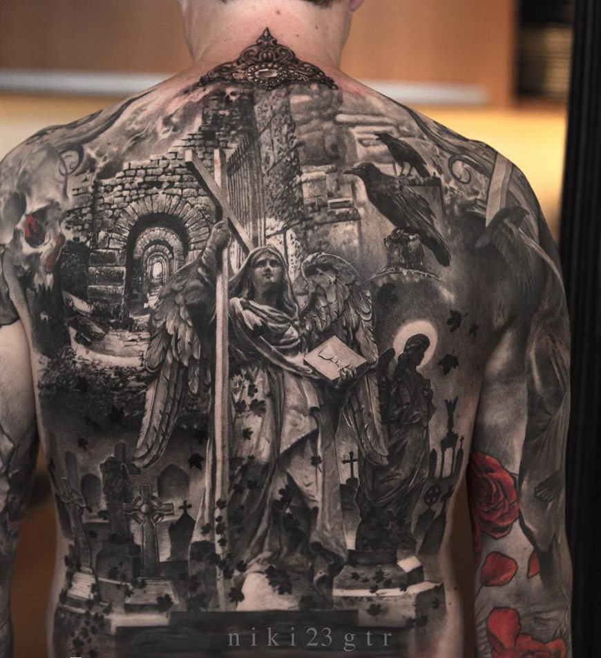 Tattoo Ideas Back: Religious Piece On Guys Back