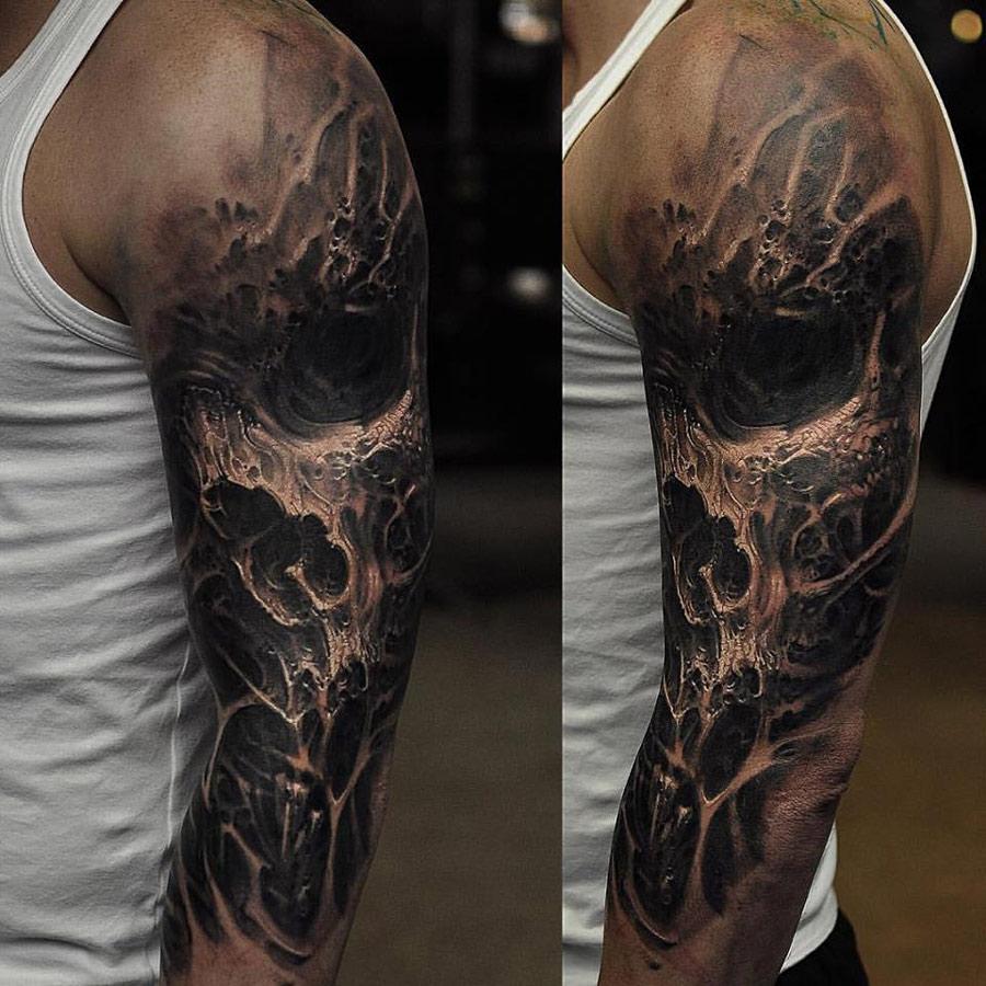 Evil skull sleeve best tattoo ideas designs for Best tattoo artists in nyc 2017