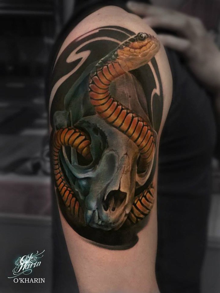 snake skull 3d best tattoo design ideas. Black Bedroom Furniture Sets. Home Design Ideas