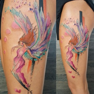 Watercolor Angel Tattoo