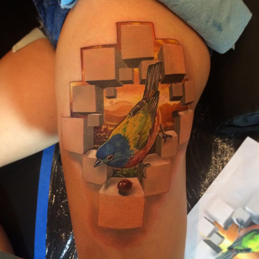 3D Thigh Tattoo