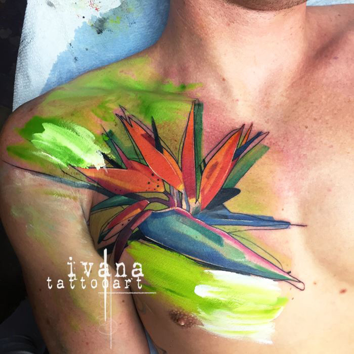 Bird of Paradise Chest Tattoo