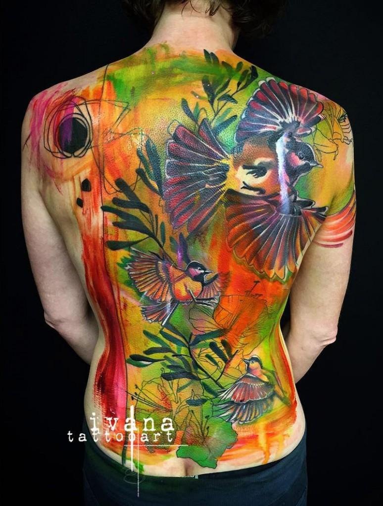 Birds & Flowers Back Tattoo
