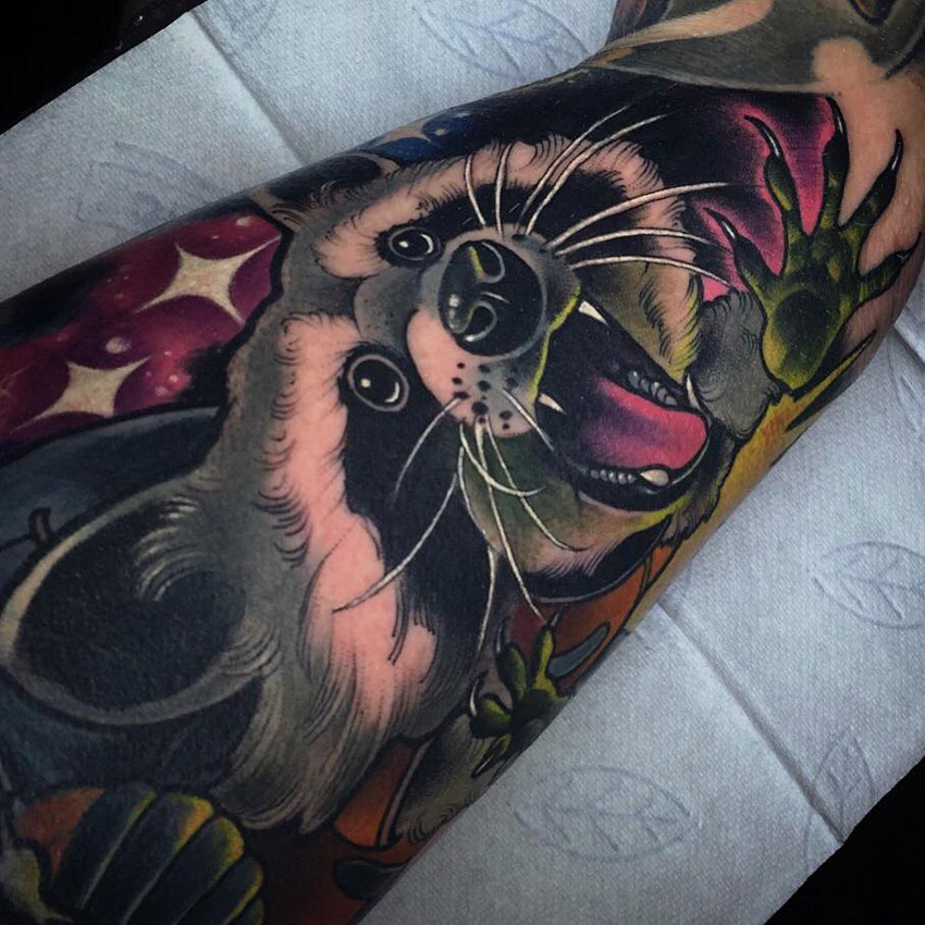 Cute Raccoon Tattoo