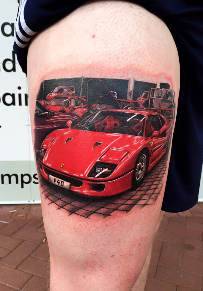 ferrari f40 on guys leg best tattoo design ideas. Black Bedroom Furniture Sets. Home Design Ideas