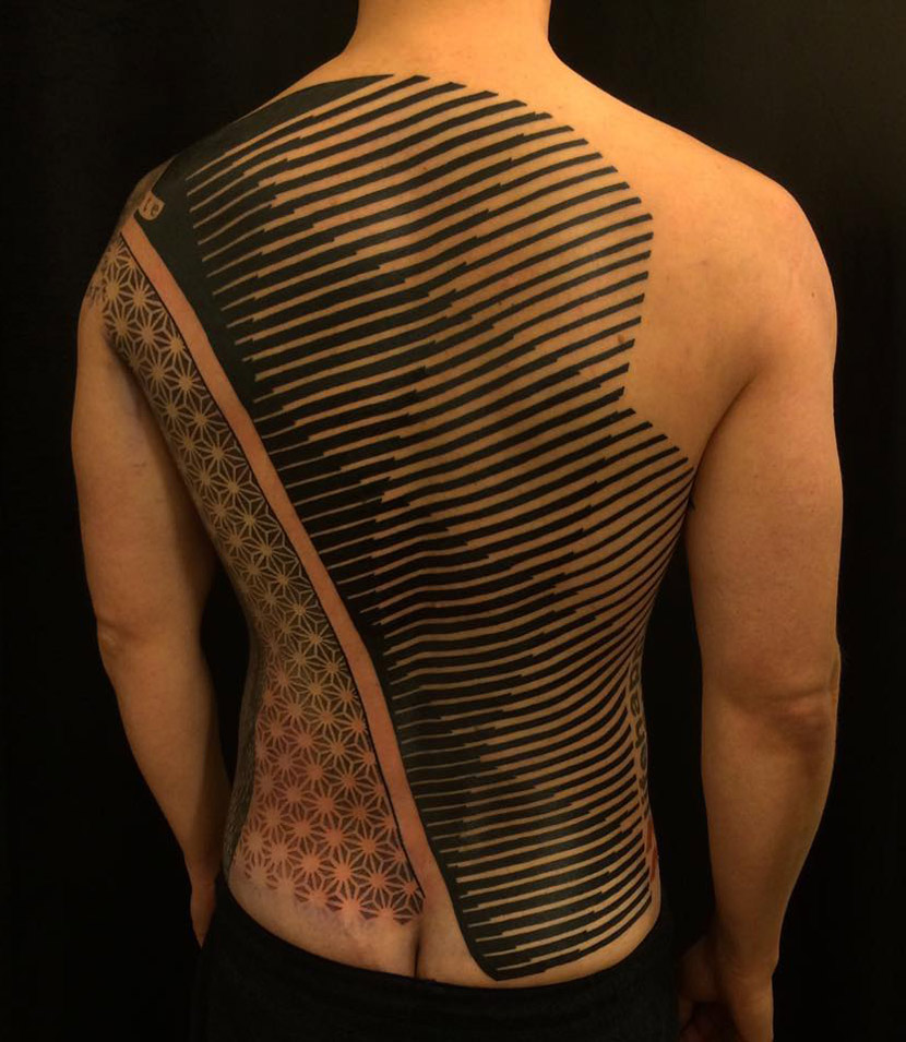 Abstract Back Tattoo