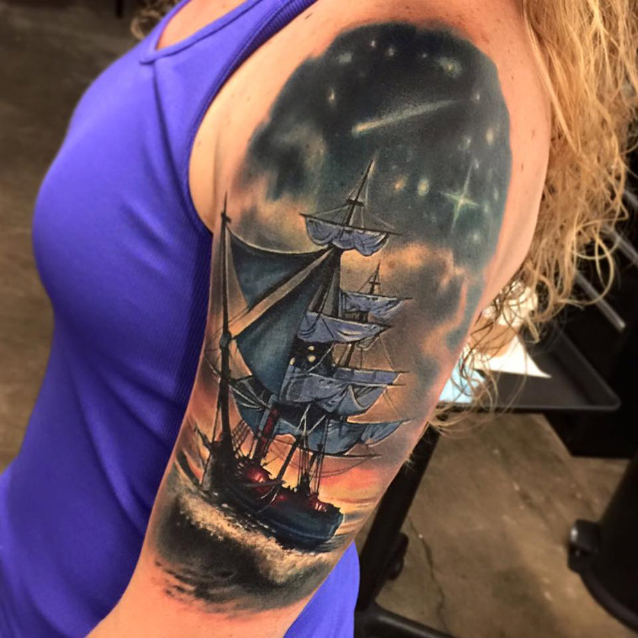 Pirate Ship Sleeve  Best Tattoo Design Ideas