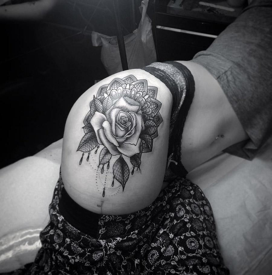 Rose On Laced Mandala